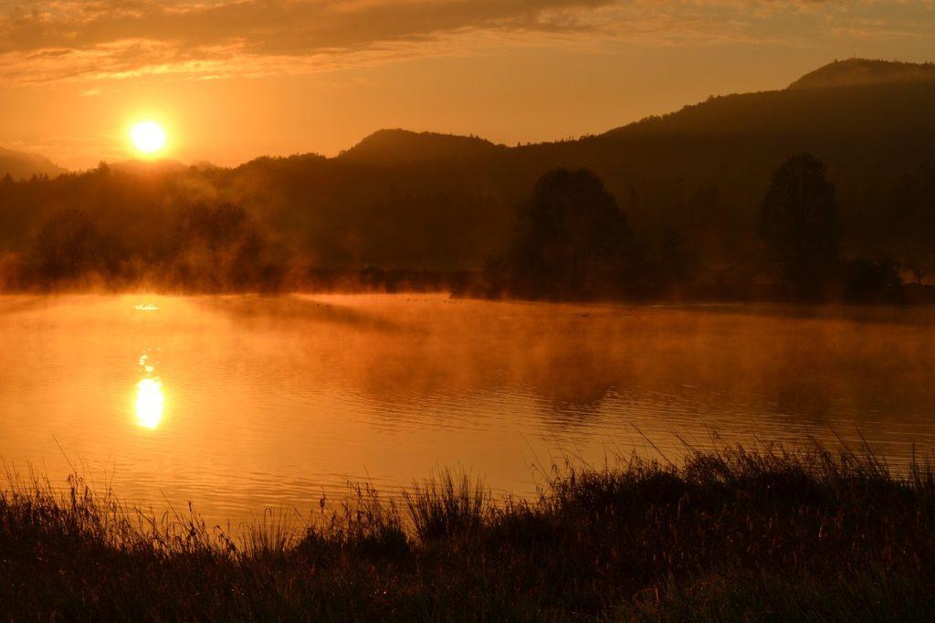 sunrise, pond, hills